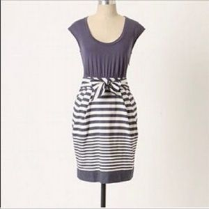 Mixed material striped dress | Anthropologie